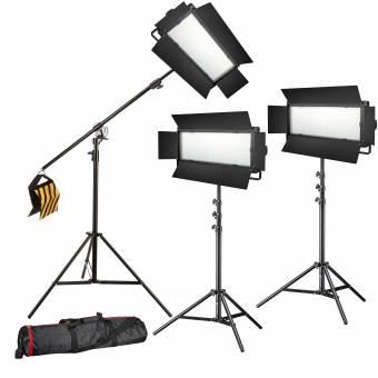 BRESSER LED Foto-Video Set 3x LG-1200 72W/11.800LUX + 3x Stativ