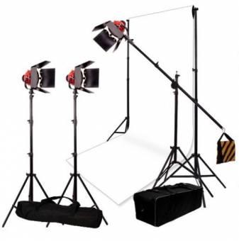 BRESSER Beleuchtungs- und Hintergrundset Nr.7 mit 3 dimmbaren SG-800D Halogen-Studiolampen