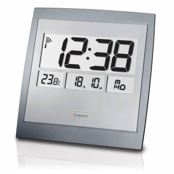 Oregon Scientific Jumbo digitale Funkuhr mit eingebautem Thermometer - als Wanduhr oder Tischuhr einsetzbar