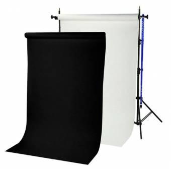 BRESSER BR-TP240 Hintergrundsystem 240 cm hoch + 2 Papierrollen (1,35 x 11 m) arktisch weiß und schwarz