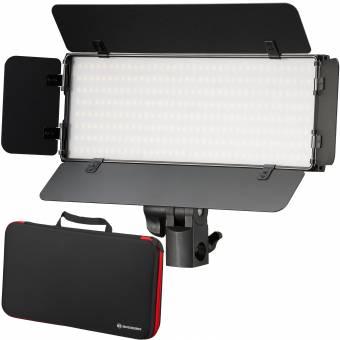 BRESSER PT 30B-II LED Bi-Color Videoleuchten-Set mit Lichtklappen, Akkus, Netzteil, Fernbedienung und Tasche