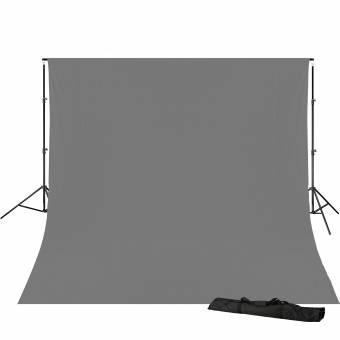 BRESSER BR-D23 Hintergrundsupport 240x300cm inkl. grauem Hintergrundtuch 3x4m