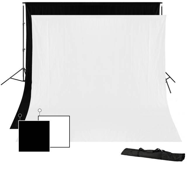BRESSER BR-D23 Hintergrundsystem + 2x Hintergrundstoff 3 x 4m (Schwarz und Weiß)