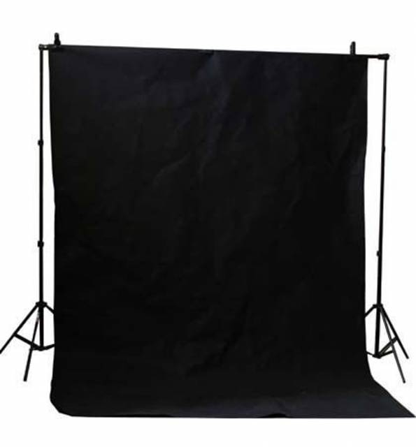 BRESSER BR-D26 Hintergrundsystem + Hintergrundstoff 3 x 6m Schwarz