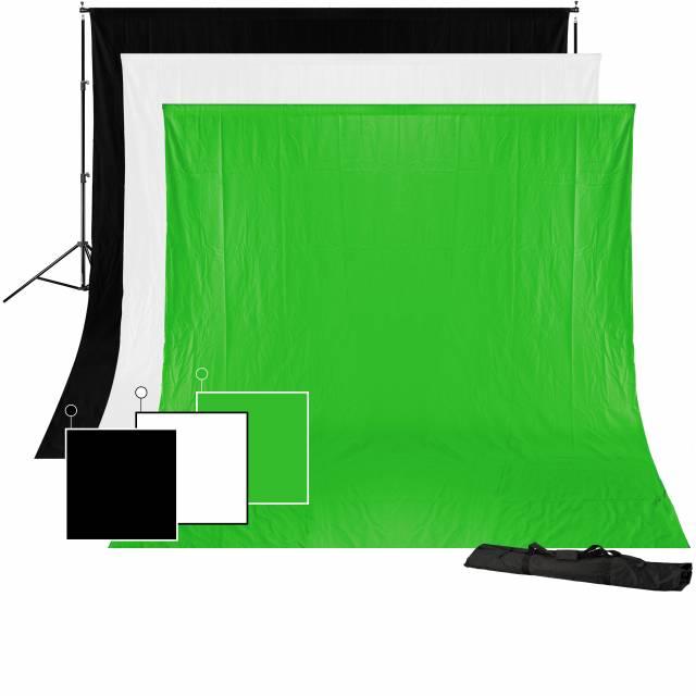 BRESSER BR-BGS1 Set 1 - Hintergrundsystem + Hintergründe 3 x 4 m in 3 Farben