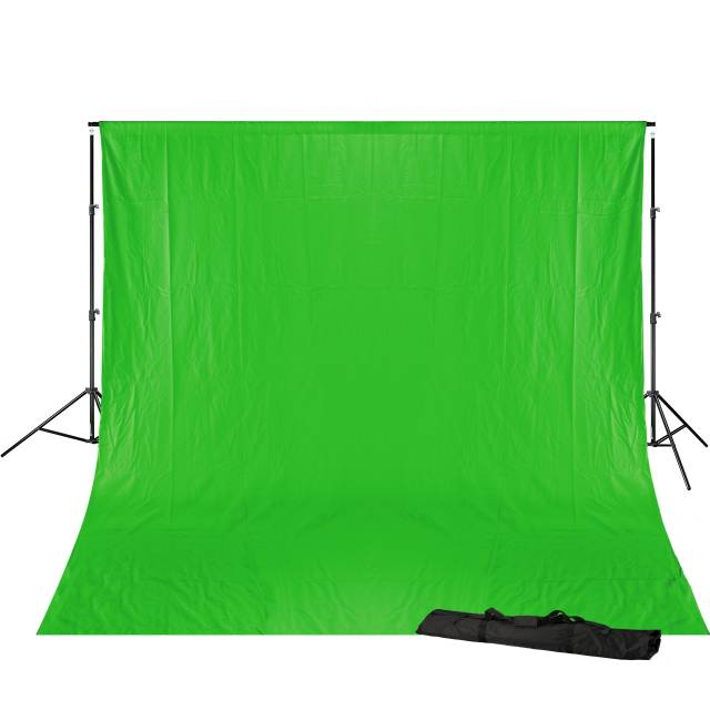 BRESSER BR-D23 Hintergrundsystem + Hintergrundstoff 3 x 4m Chromakey Grün
