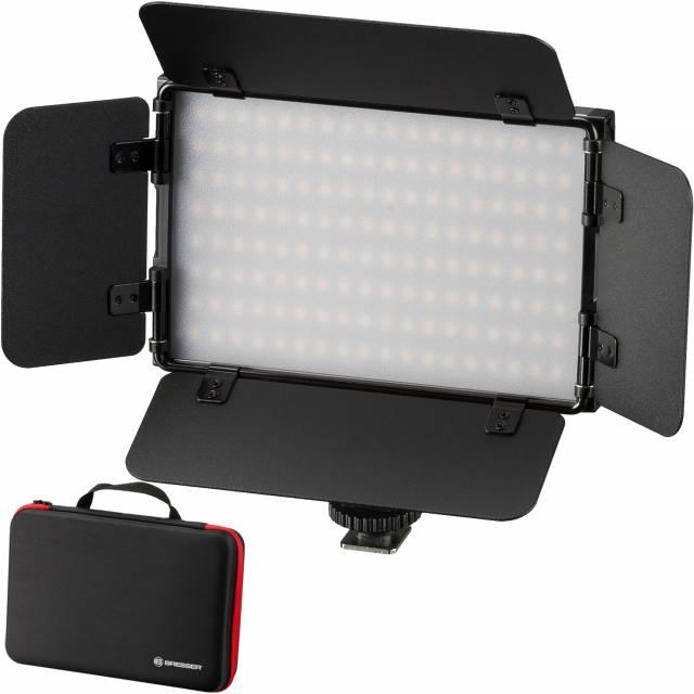 BRESSER PT Pro 15B-II Bi-Color LED Videoleuchte mit Lichtklappen, Akku und Tasche