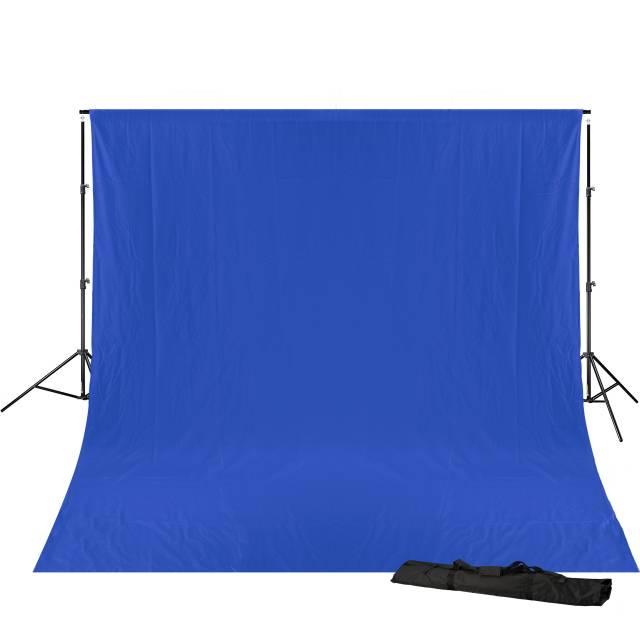 BRESSER BR-D23 Hintergrundsystem + Hintergrundstoff 3 x 6m Chromakey Blau