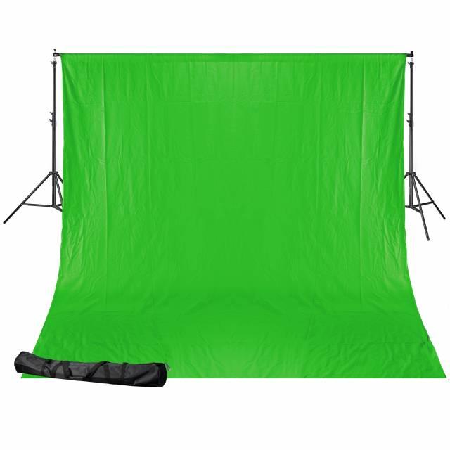 BRESSER BR-D24 Hintergrundsystem + Hintergrundstoff 2,5 x 3m Chromakey Grün