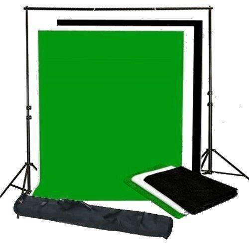 BRESSER BR-BGS2 Set 2 - Hintergrundsystem + Hintergründe 3 x 6 m in 3 Farben
