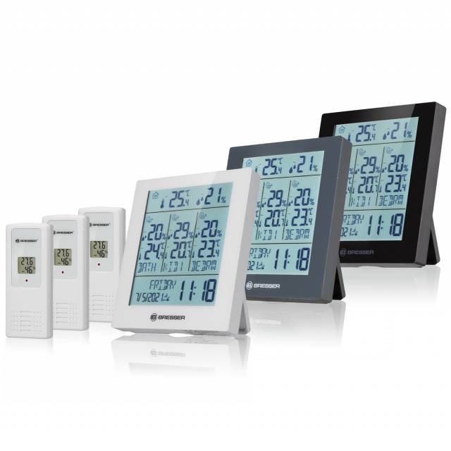 BRESSER Quadro Neo Thermo- und Hygrometer mit 3 Funksensoren und Standortangabe