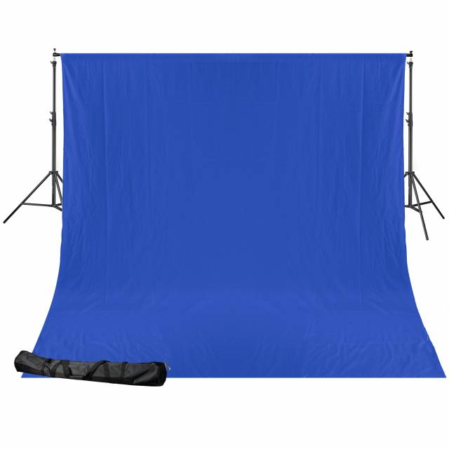 BRESSER BR-D24 Hintergrundsystem + Hintergrundstoff 2,5 x 3m Chromakey Blau