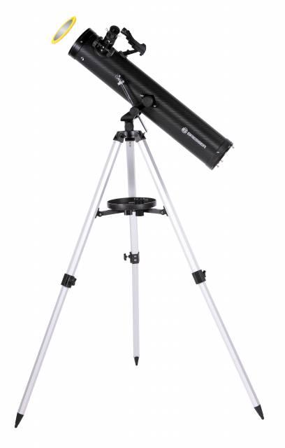BRESSER Venus 76/700 AZ Spiegelteleskop mit Smartphone-Adapter & Sonnenfilter