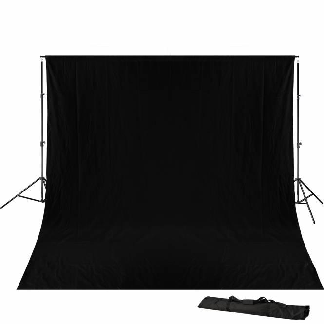 BRESSER BR-D23 Hintergrundsupport 240x300cm inkl. schwarzem Hintergrundtuch 3x6m