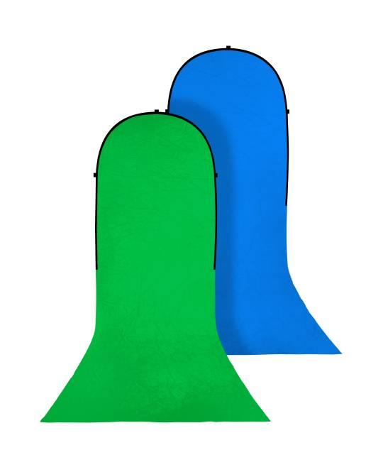 BRESSER BR-TR16 Falthintergrund mit Schleppe grün/blau 180x240+240cm