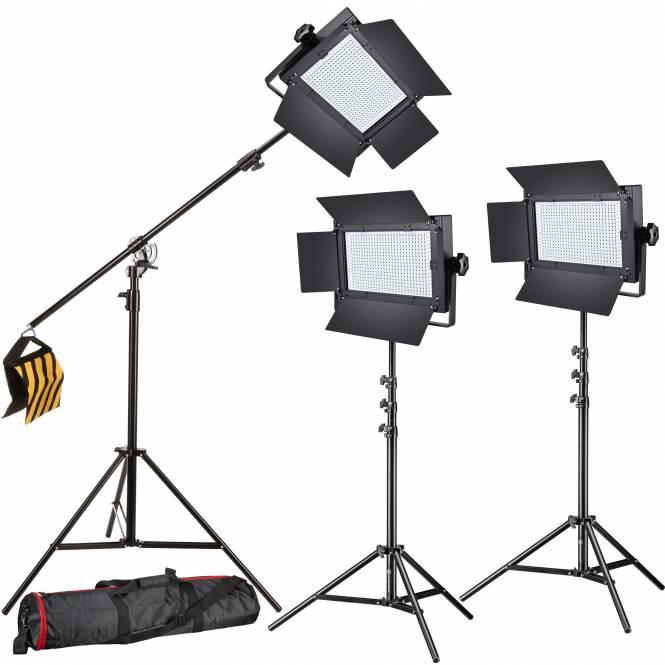 BRESSER LED Foto-Video Set 3x LG-600 38W/5600LUX + 3x Stativ