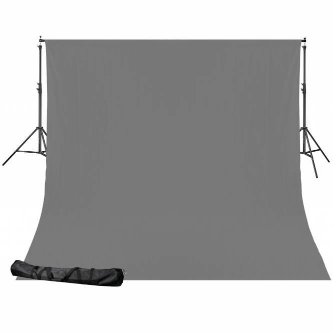 BRESSER BR-D24 Hintergrundsystem + Hintergrundtuch (2,5 x 3 m) grau