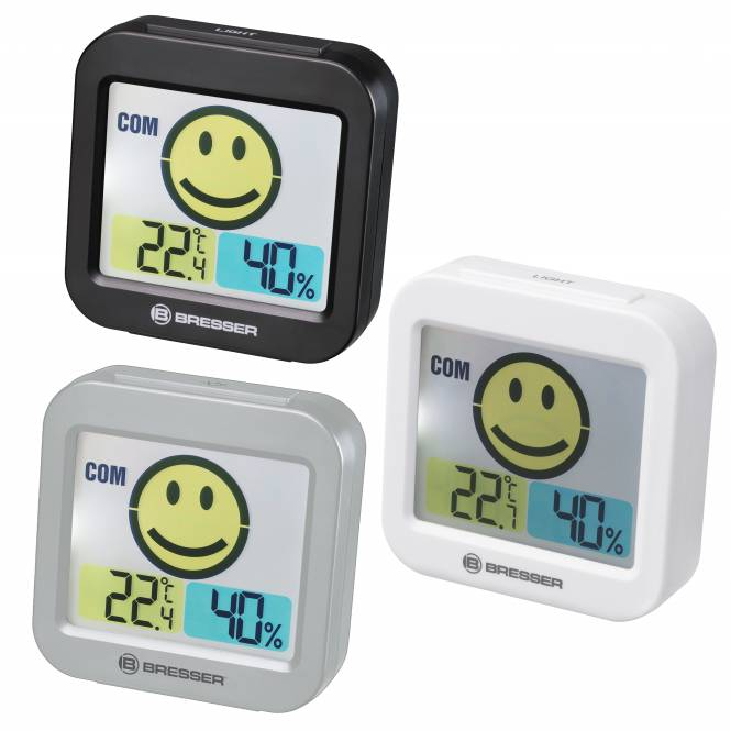 BRESSER Temeo Smile Thermo- / Hygrometer mit Raumklimaindikator