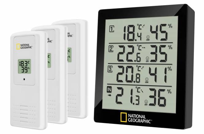 NATIONAL GEOGRAPHIC digitales Thermo-Hygrometer für 4 Messbereiche - schwarz