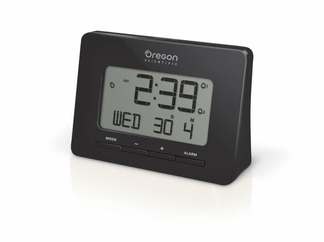 Oregon Scientific Funkwecker mit Dual-Weckfunktion und Triband für unterschiedliche Zeitzonen (EU, UK, USA) - schwarz