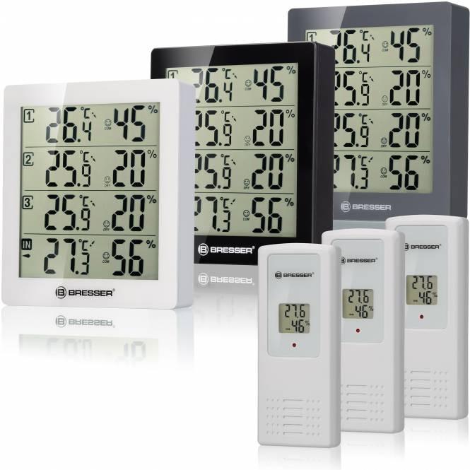 BRESSER Temeo Hygro Quadro - Thermo- und Hygrometer mit 4 unabhängigen Messdaten