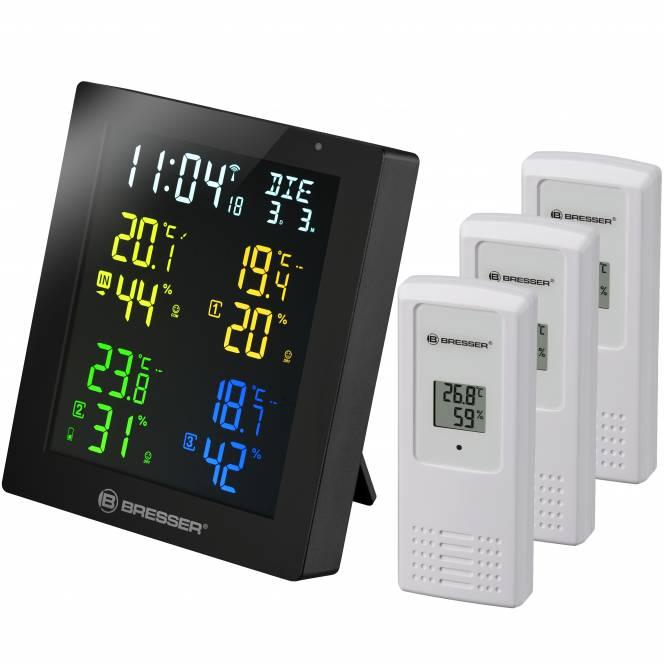 BRESSER ClimaTemp Hygro Quadro Colour Thermo-/ Hygrometer mit 3 Sensoren